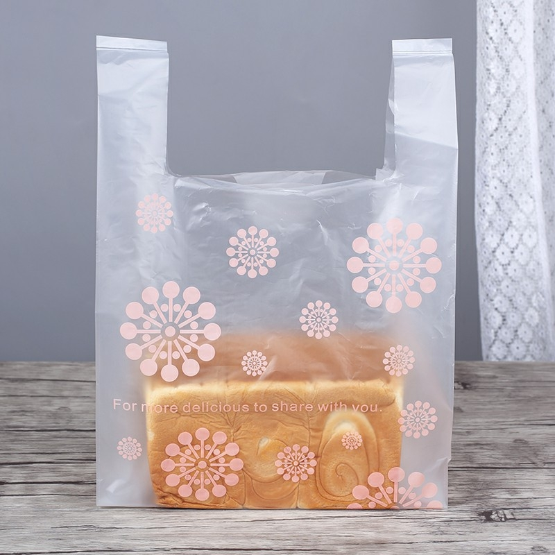 烘焙食品面包袋蛋糕吐司甜品磨砂塑料手提袋超市餐厅背心袋
